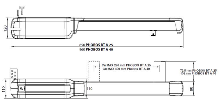 Габаритные размеры BFT PHOBOS BT A40